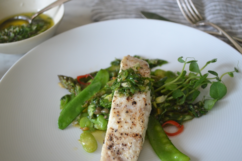 Halibut with Spring Vegetables